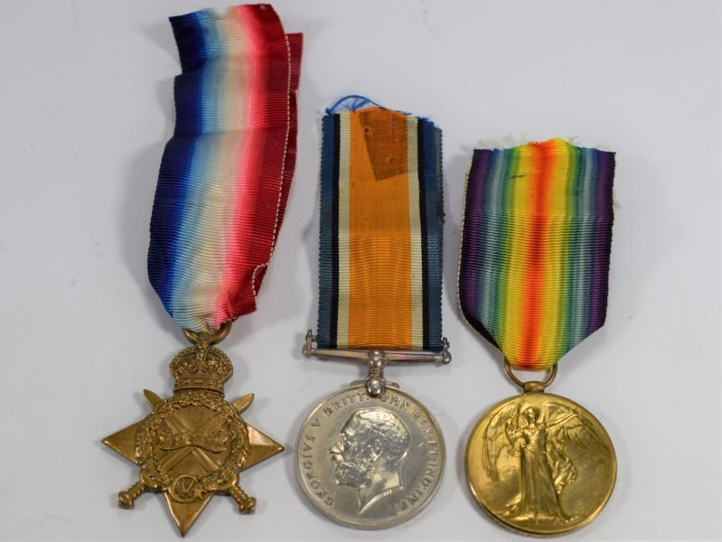 Full Size WW1 British Medal Trio 12382 Pte H.F.Gould KRRC