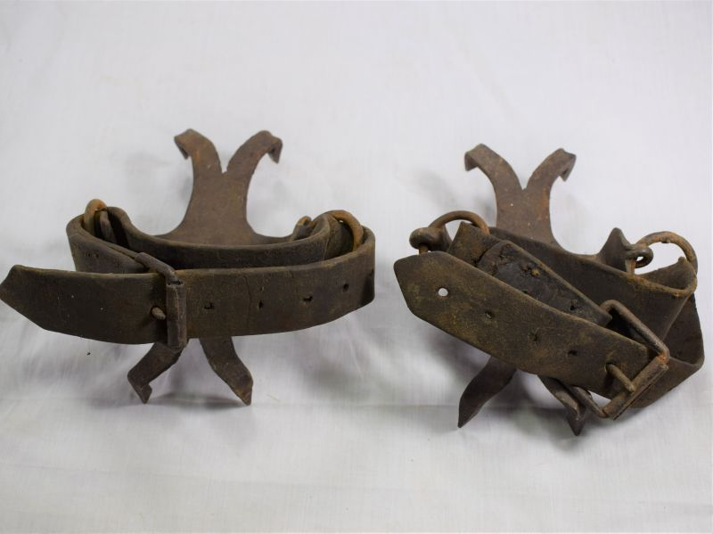 Original WW1 German? Snow/Ice Crampons with Boot Attachment Straps
