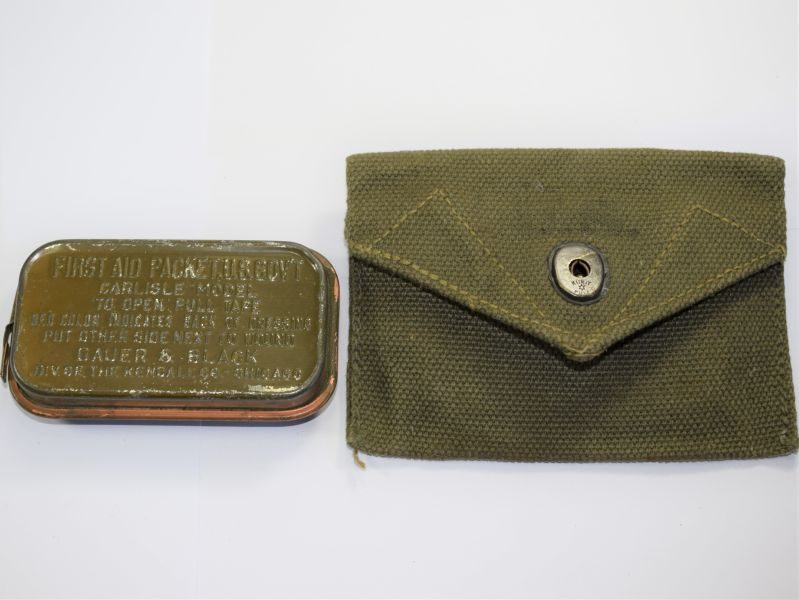 WW2 US Army Issue Field Dressings Pouch & Carlisle First Aid Packet