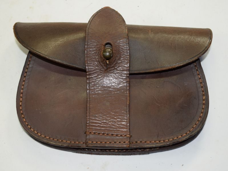 WW1 WW2 British Army Officers Sam Brown Pistol Ammo Pouch in Leather