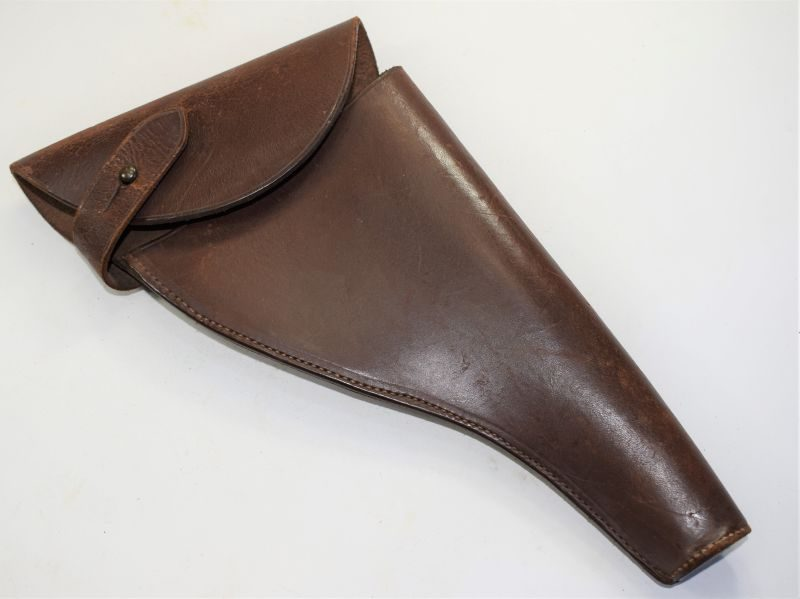 Large Boer War WW1 British Army Officers Sam Brown Pistol Holster in Leather