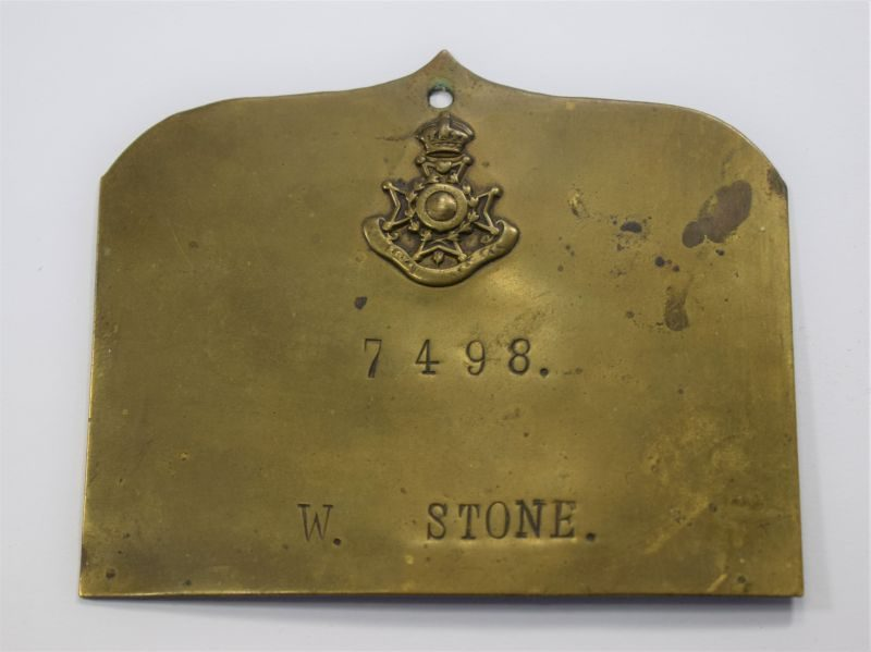 Early WW1 Royal Sussex Regiment Duty Plate, Bed Plate to 7498 W.Stone