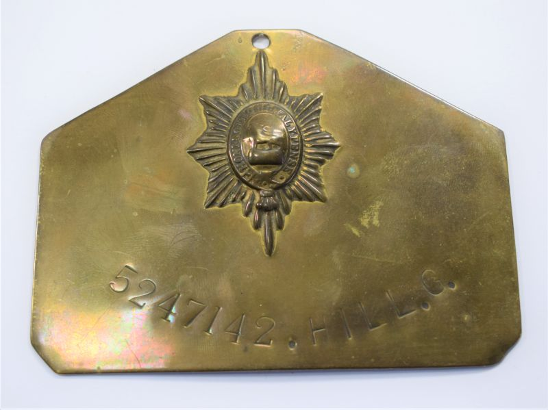 WW2 Worcestershire Regiment Duty Plate, Bed Plate to 5247142 Hill.G