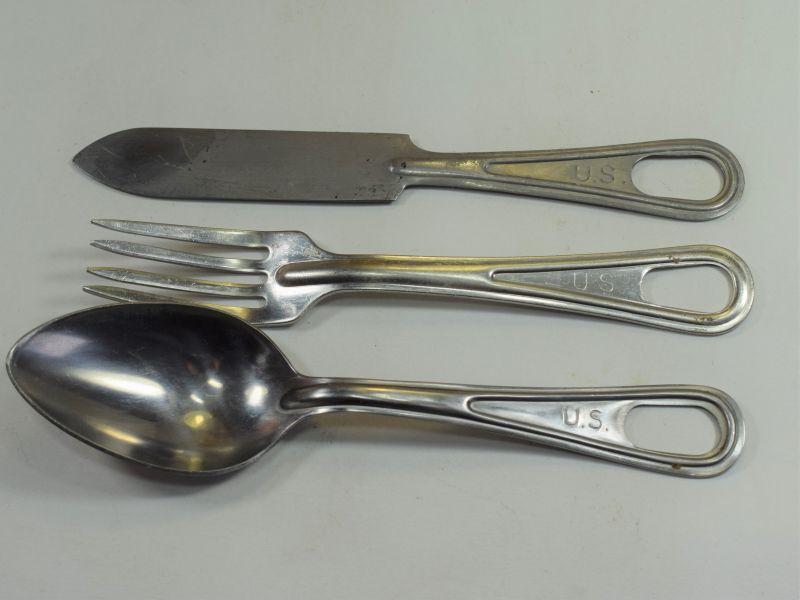 WW2 Era US Army Knife, Fork & Spoon Set