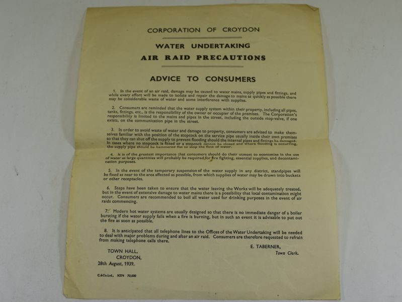 WW2 Corporation Of Croydon Air Raid Precautions Water Undertaking