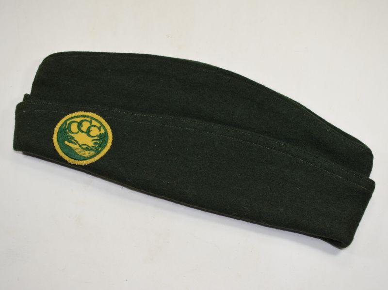 Mint US Civilian Conservation Corps Side Cap & Badge 1940