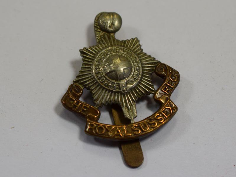 Original WW1 WW2 Royal Sussex Regiment Bi-Metal Cap Badge