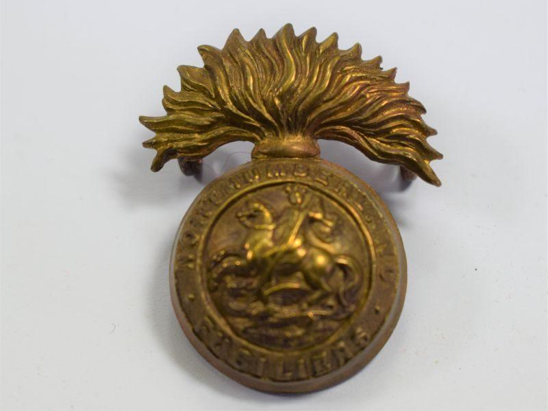 Original WW1 WW2 Northumberland Fusiliers Brass Cap Badge