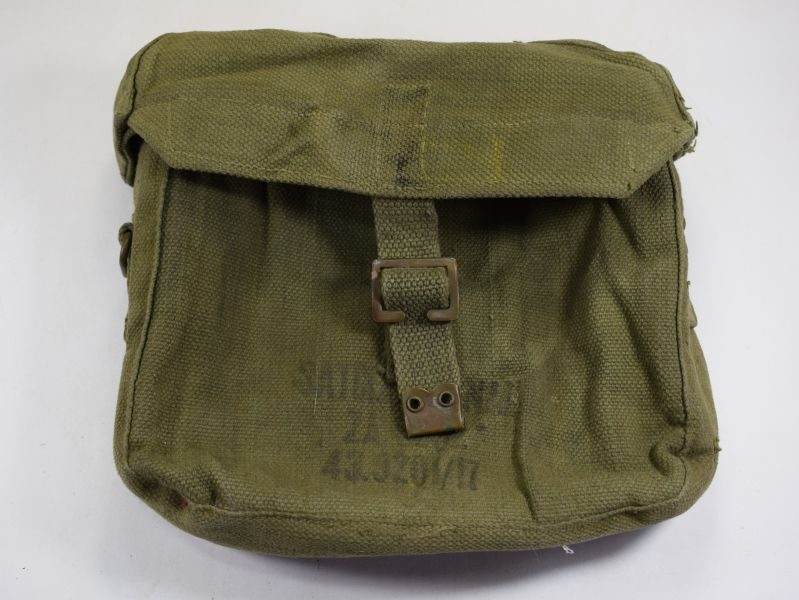 Unusual WW2 Indian Made British Army Signals Satchel in Jungle Green 1943