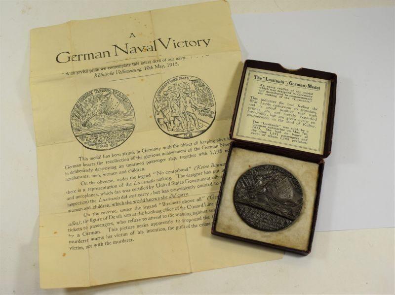 WW1 British Propaganda German Lusitania Medal, Box & Paperwork 1915