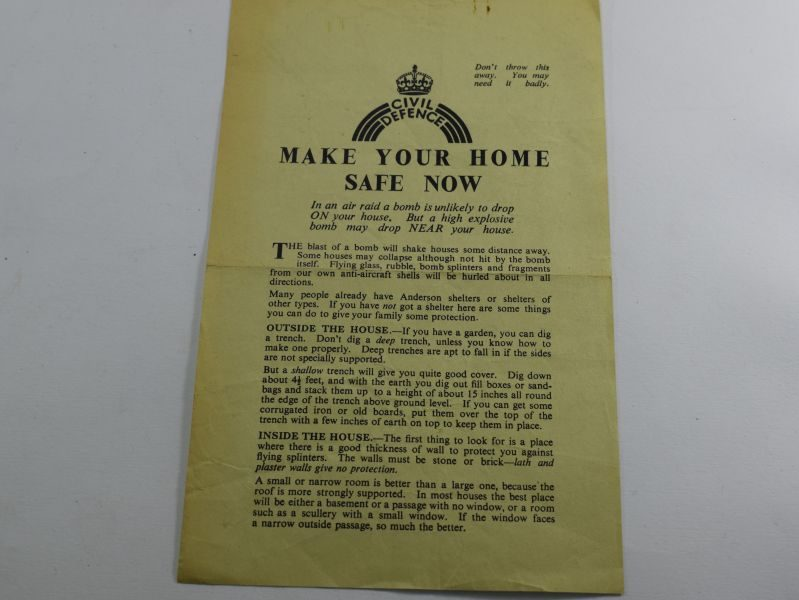 17 WW2 British Home Front Leaflet Make Your Home Safe Now.