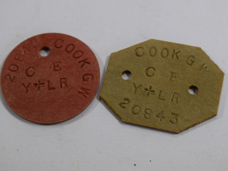 WW1 British Dog Tags 20843 Cook G.W. Y&LR York & Lancaster Regiment