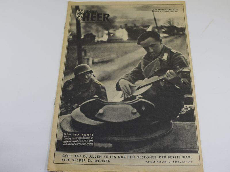 2 WW2 German Army Magazine Unser Heer September 1944 Playing Guitar on Tank