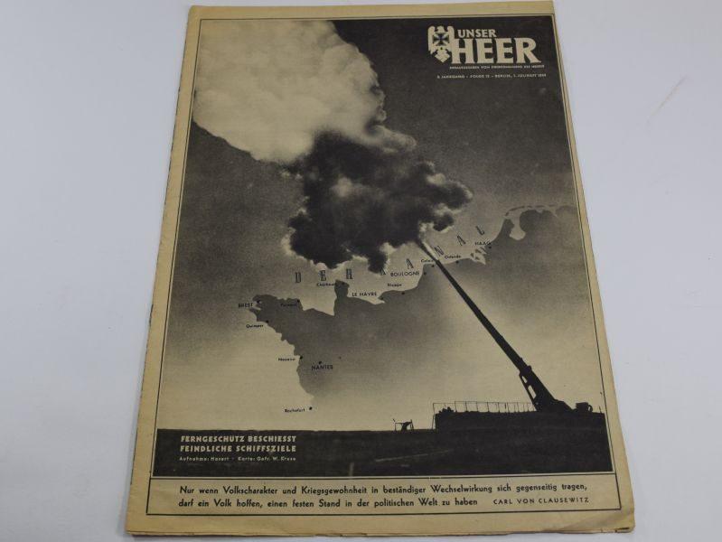 4 WW2 German Army Magazine Unser Heer July 1944 Gun over Normandy Coast