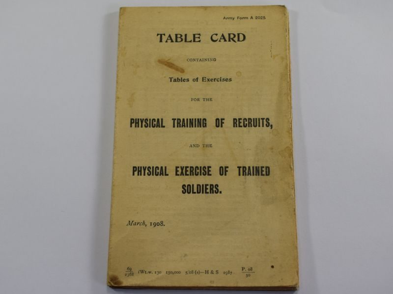 Pre WW1 British Army Table Card for Physical Training of Recruits & Physical Exercise of Trained Soldiers
