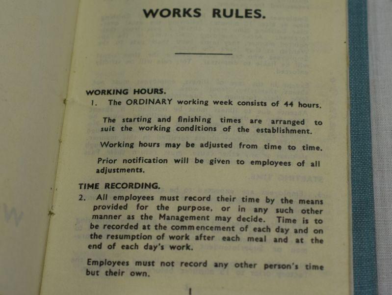 Original WW1 WW2 The Fairey Aviation Co.Ltd Works Rules Book