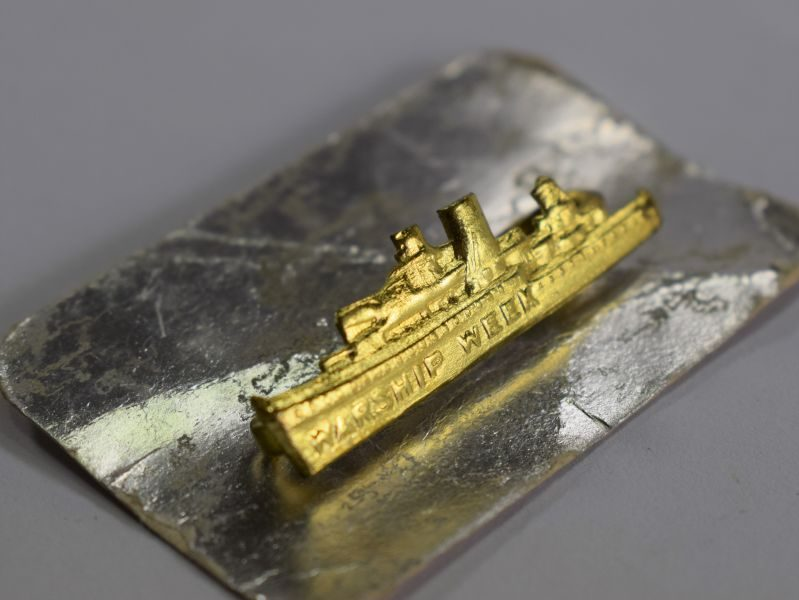 Original WW2 Warship Week Pin Badge on Original Card Backing