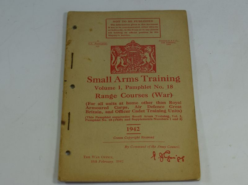 24 WW2 Small Arms Training Volume I Pamphlet No 18 Range Courses (WAR) 1942