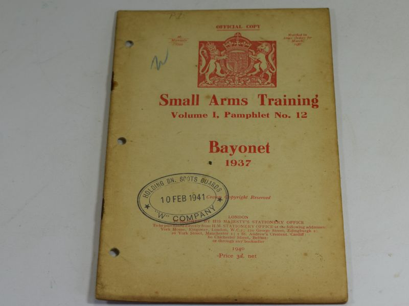 34 WW2 Small Arms Training Volume I Pamphlet No 12 Bayonet 1937