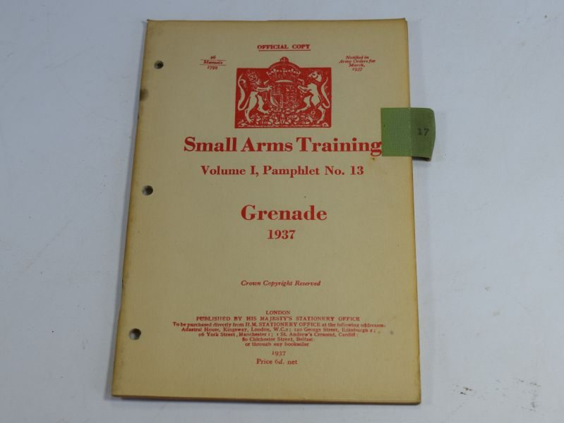 35 WW2 Small Arms Training Volume I Pamphlet No 13 Grenade 1937