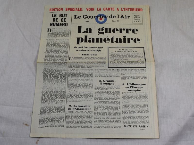 60 Original WW2 RAF Air Drop Miniature Newspaper in French 1941