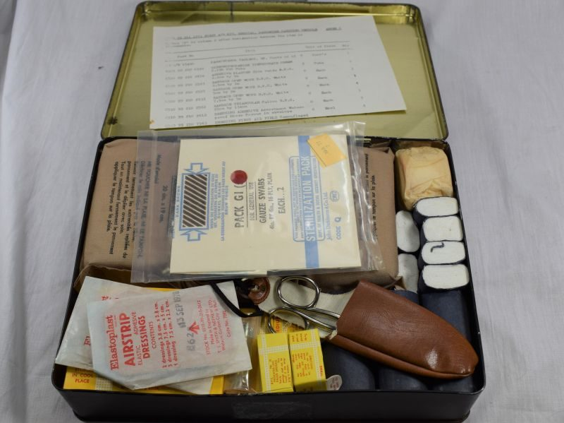 British Army First Aid Kit Passenger Vehicle Tin & Contents Dated 1978