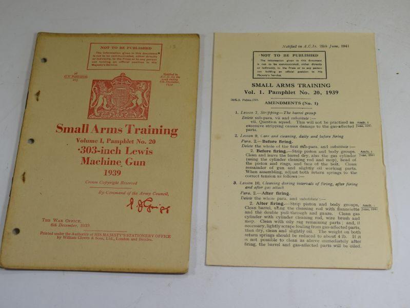 39 WW2 Small Arms Training Volume I Pamphlet No 20 .303-Inch Lewis Machine Gun 1939