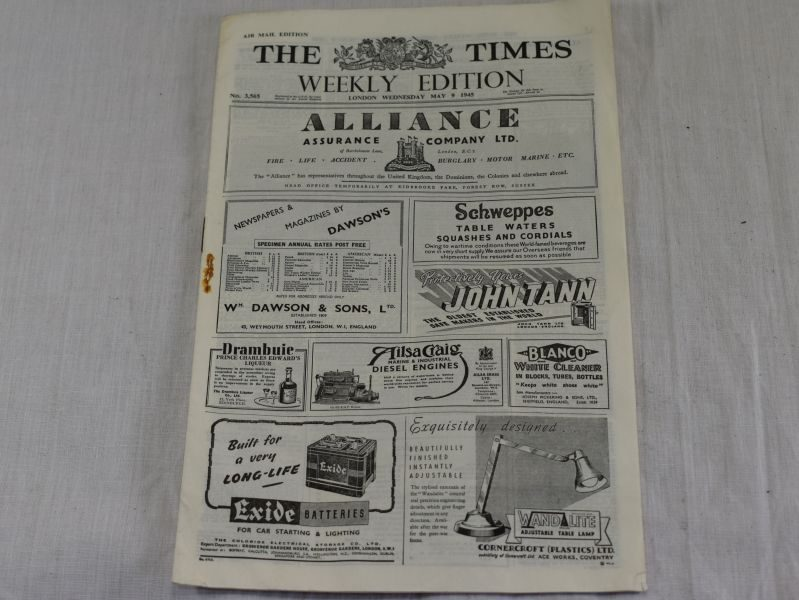Interesting Miniature Air Mail Edition of the Times Newspaper, May 9th 1945