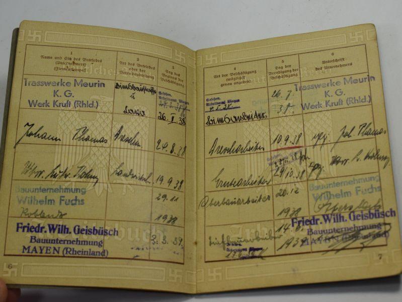 8 WW2 German Deutsches Reich Arbeitsbuch Work Book