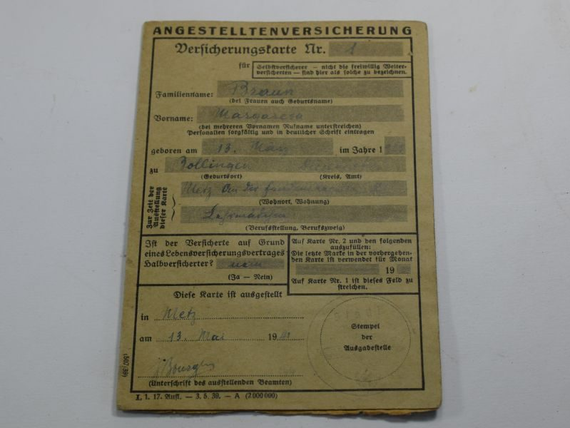9 Original WW2 German Angestelltenversicherung Employee Insurance Card