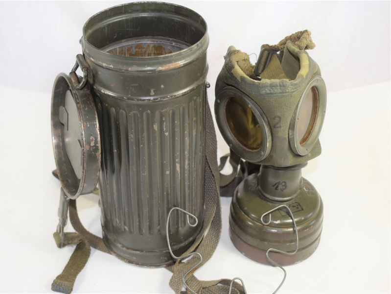 Excellent WW2 German Army Respirator & Storage Tin 1943-44 dated.