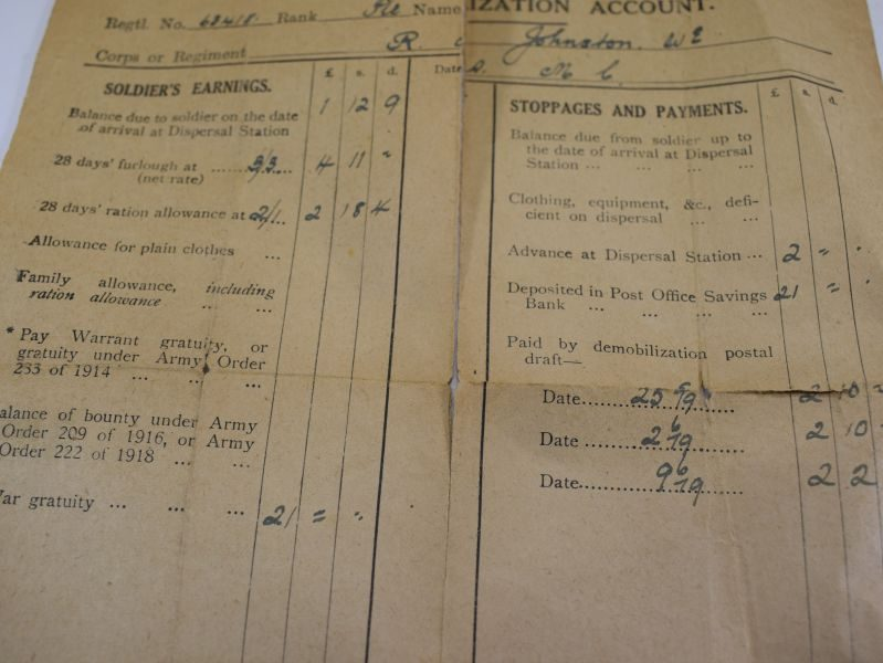 WW1 Payslip, Dog Tags & WW2 Home Guard Certificate to 63418 W.E.Johnston RAMC.
