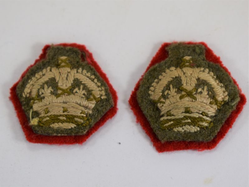 7 Original WW2 British Army Officers Rank Cloth Crowns