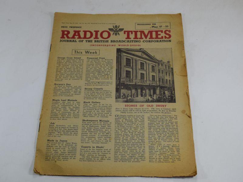 Original WW2 Radio Times Magazine Dated May 15th 1942