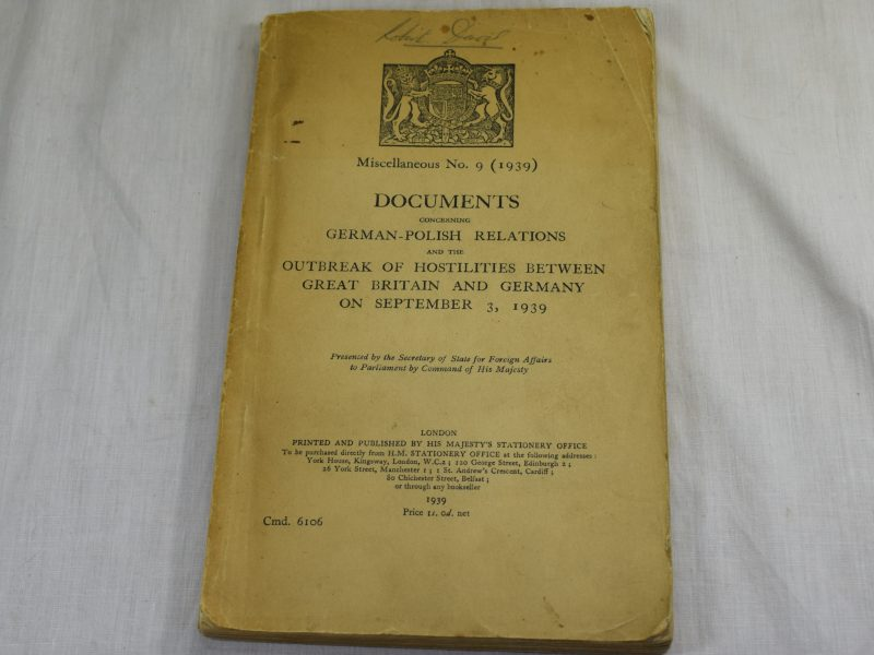 Original HMSO Documents Concerning German-Polish Relations & Outbreak of Hostilities 1939
