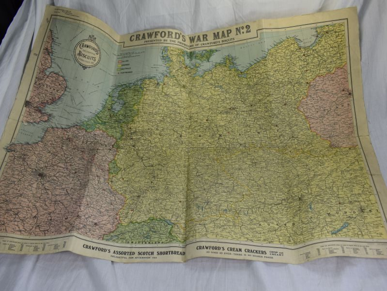 Excellent WW1 Linen Backed Crawfords War Map No 2 by Crawford's Biscuits & Sons