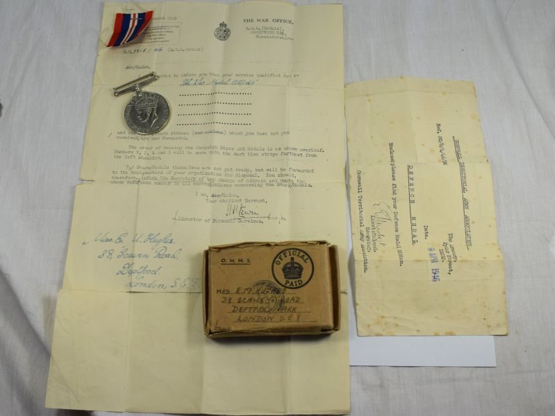 WW2 British War Medal Box & Paperwork to a Woman Mrs E.M.Hughes