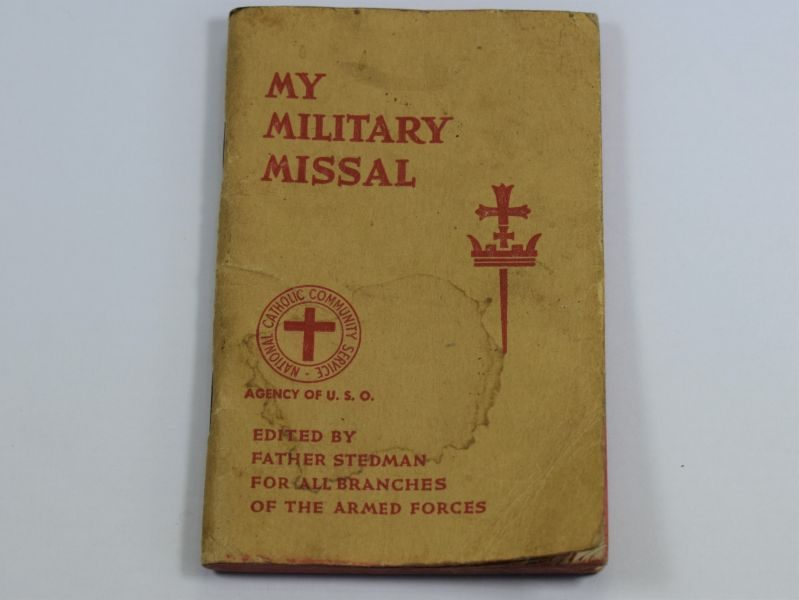 WW2 US Military Issue My Military Missal Roman Catholic Pocket Book Dated 1942