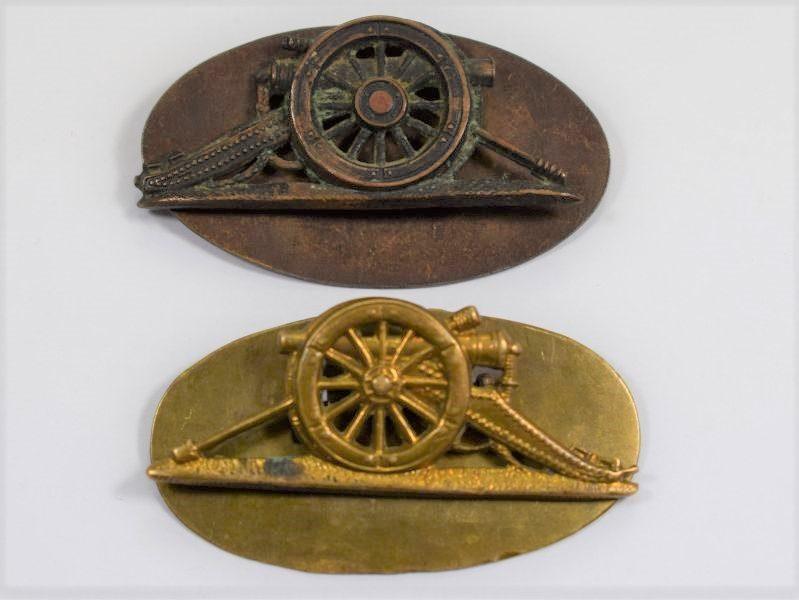 Original WW1 WW2 Royal Artillery Opposite Facing Field Gun Arm Badges