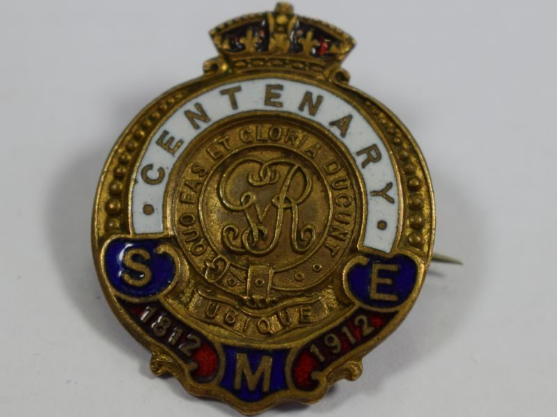 Pre WW1 Pin Badge Centenary RE School of Military Engineering 1812 to 1912