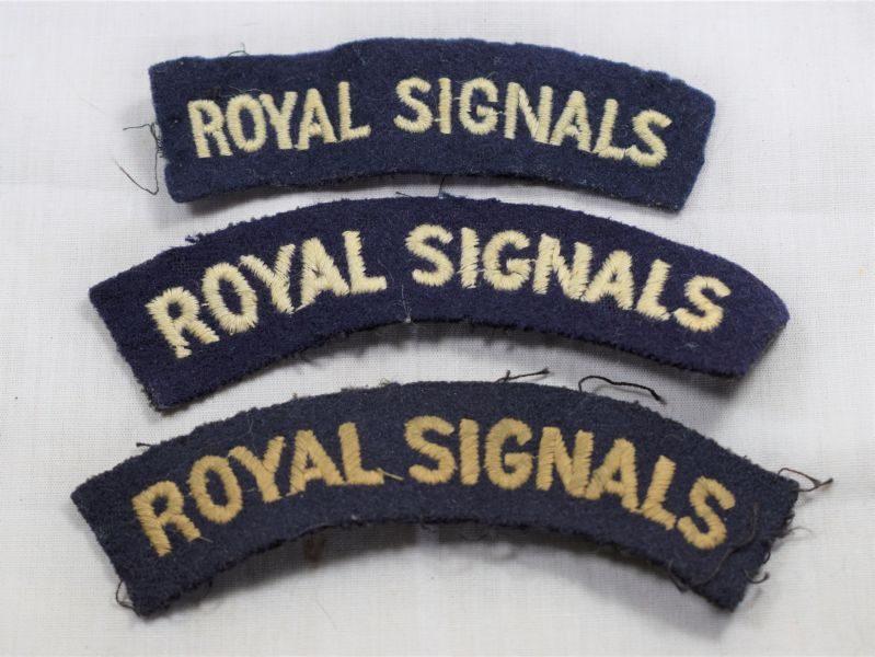 Set of 3 Original WW2 Royal Signals Cloth Shoulder Titles