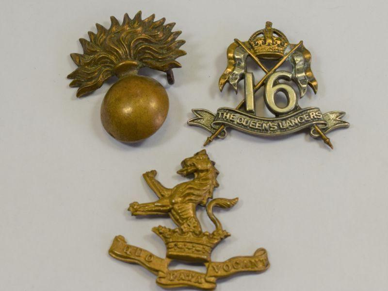 3 Original Damaged WW1 WW2 Cap Badges 16th Queens Lancers, Grenadier Guards, 7 Dragoon Guards