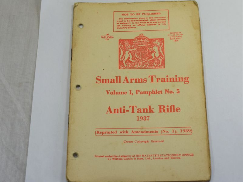 38 Original WW2 British Small Arms Training Pamphlet Vol I No5 Anti-Tank Rifle 1937