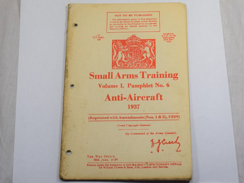 39 Original WW2 British Small Arms Training Pamphlet Vol I No6 Anti-Aircraft 1937