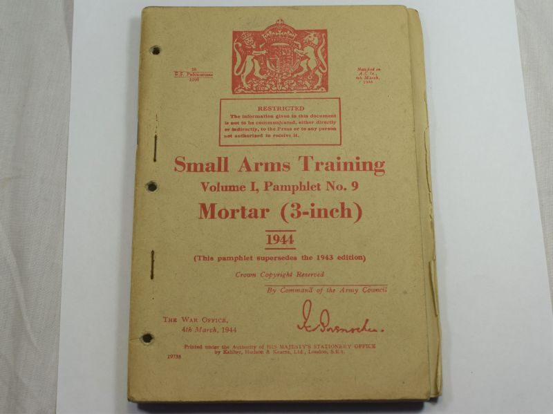 40 Original WW2 British Small Arms Training Pamphlet Vol I No9 Mortar 3-Inch 1944