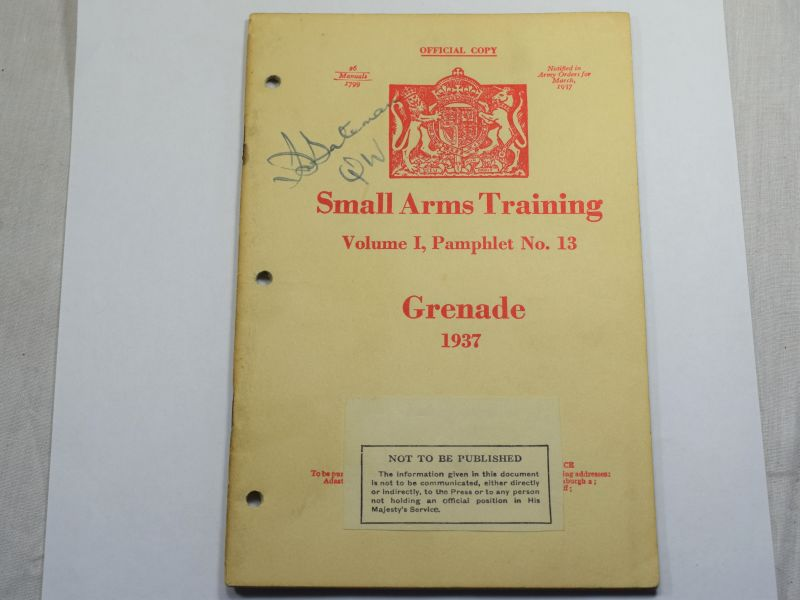 42 Original WW2 British Small Arms Training Pamphlet Vol I No13 Grenade 1937