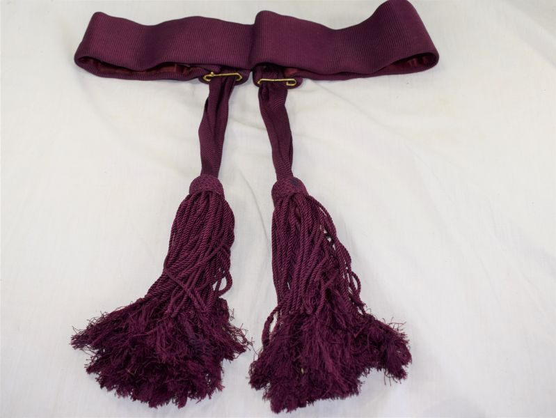 Vintage British Army Maroon Waist Sash with 2 Tassels
