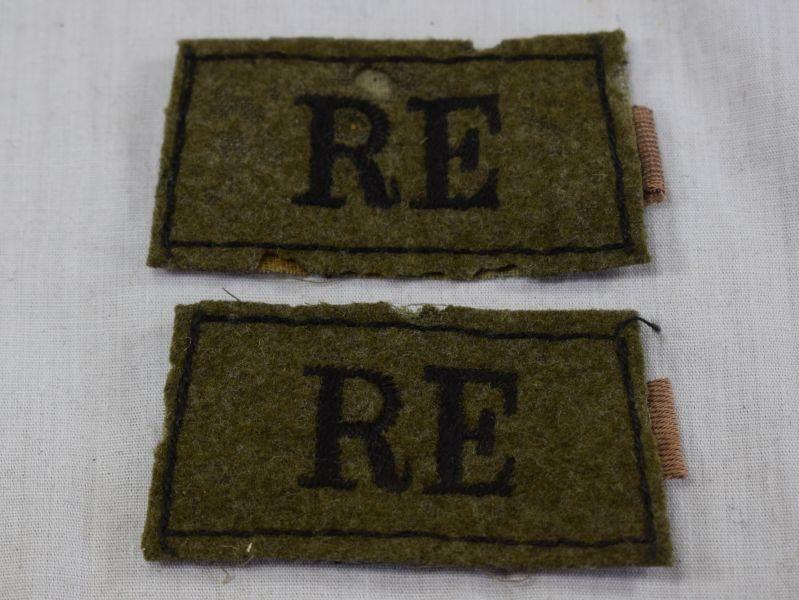 Original WW1 WW2 Royal Engineers RE Epaulette Slides