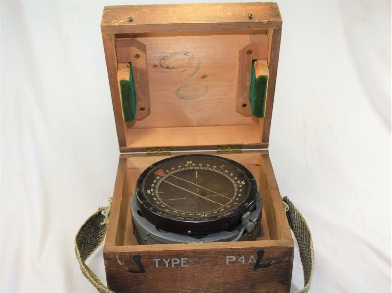 Excellent Large WW2 Aircraft Compass Type P4A & Box Dated 1938. Lancaster, Wellington, Etc