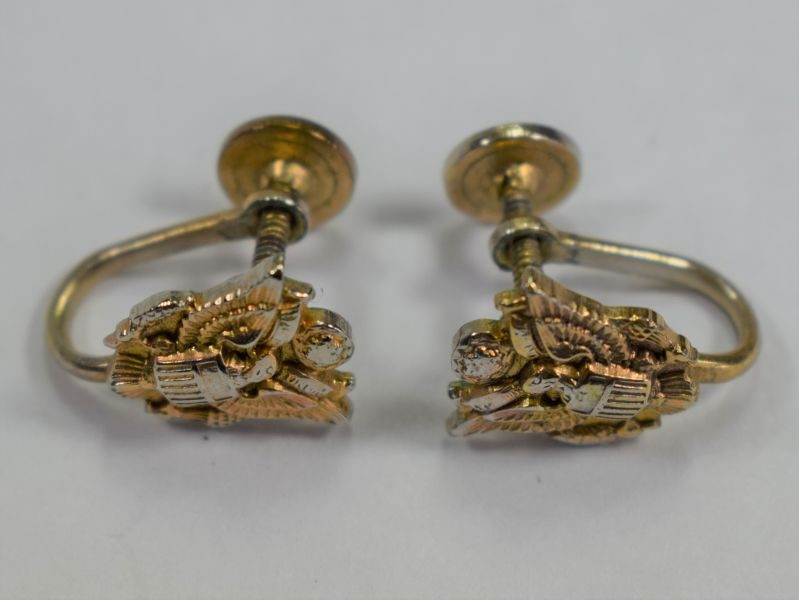 Lovely Original WW2 US Army Sweetheart Army Eagle Earrings